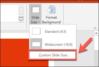 Pour définir une taille de diapositive PowerPoint personnalisée, appuyez sur Conception> Taille de diapositive> Taille de diapositive personnalisée.» width=»337″ height=»227″ onload=»pagespeed.lazyLoadImages.loadIfVisibleAndMaybeBeacon(this);» onerror=»this.onerror=null;pagespeed.lazyLoadImages.loadIfVisibleAndMaybeBeacon(this);»/></p> <p>Divers formats de diapositives prédéfinis, tels que les formats de papier A3 ou A4, sont affichés dans le menu déroulant «Diapositives dimensionnées pour».</p> <p>Sélectionnez l'une de ces options prédéfinies ou définissez les dimensions de vos diapositives manuellement à l'aide des cases d'option «Largeur» et «Hauteur».  De là, cliquez sur le bouton «OK» pour enregistrer.</p> <p><img loading=