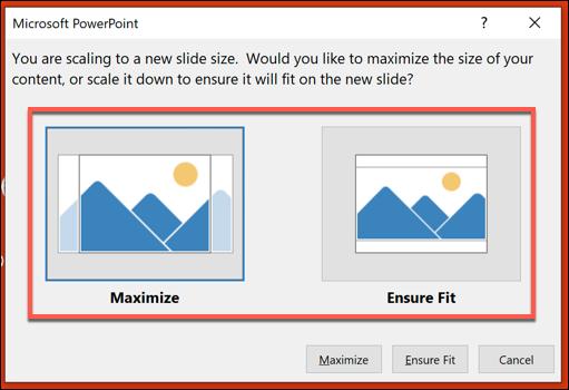 """Choisir la """"Maximiser"""" ou alors """"S'assurer de l'ajustement"""" option."""