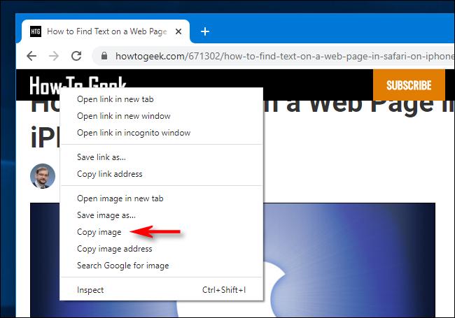 Copie avec le bouton droit de la souris dans Google Chrome pour Windows 10