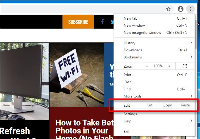 Copier, couper et coller dans le menu de Chrome