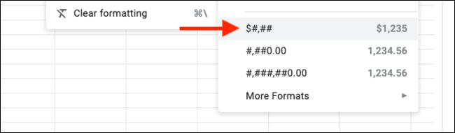 Formats personnalisés ajoutés au menu des formats