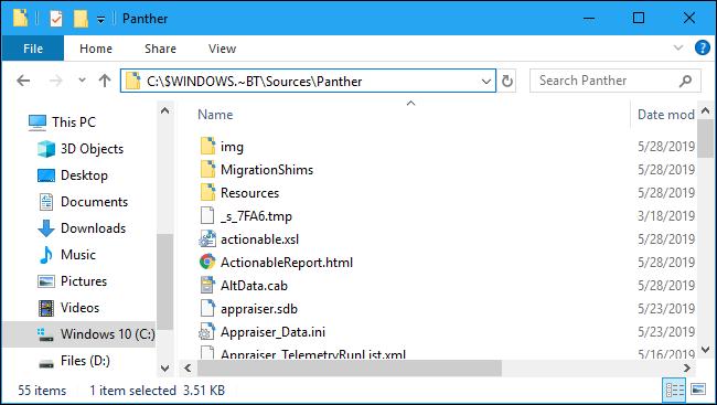Dossier Panther du journal des messages d'erreur d'installation de Windows 10