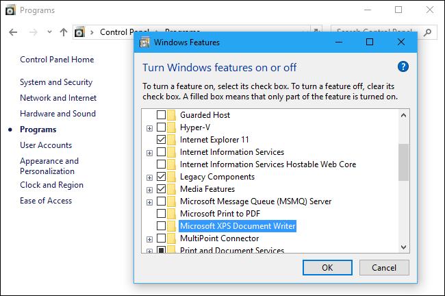 Désactivation des imprimantes XPS et PDF sous Windows 10