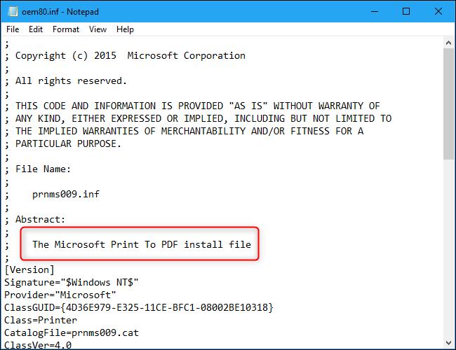 Le fichier Microsoft Print To PDF INF