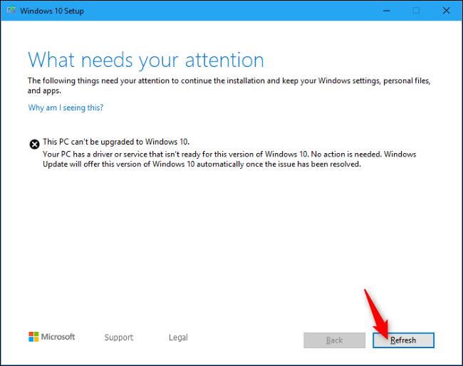 Reprise de l'installation de Windows 10 avec le bouton Actualiser