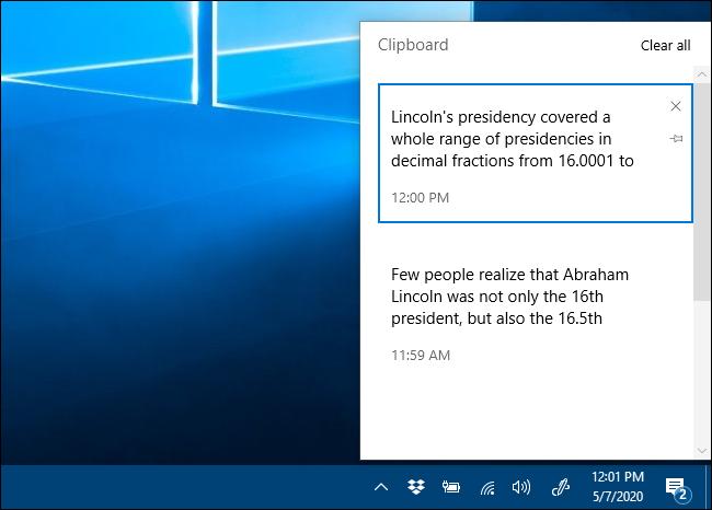 La fenêtre d'historique du Presse-papiers dans Windows 10