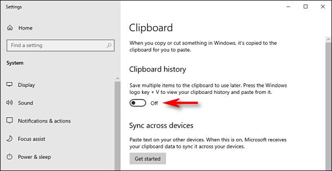 Cliquez sur le commutateur d'historique du Presse-papiers dans les paramètres système de Windows 10 pour le désactiver