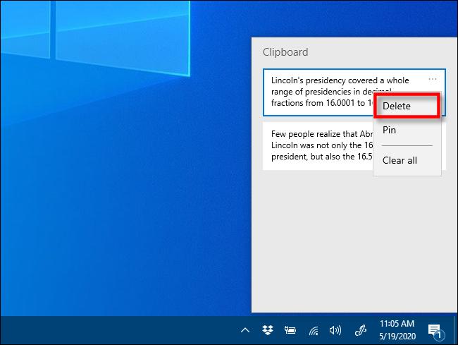 Cliquez sur Supprimer dans l'historique du Presse-papiers sous Windows 10