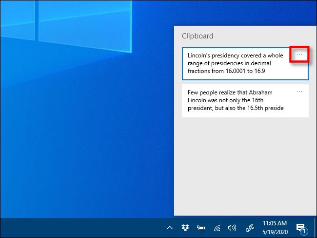 Cliquez sur les ellipses dans l'historique du Presse-papiers sous Windows 10