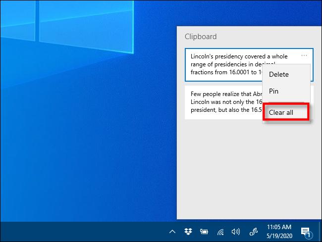 Cliquez sur tout effacer dans l'historique du Presse-papiers sous Windows 10
