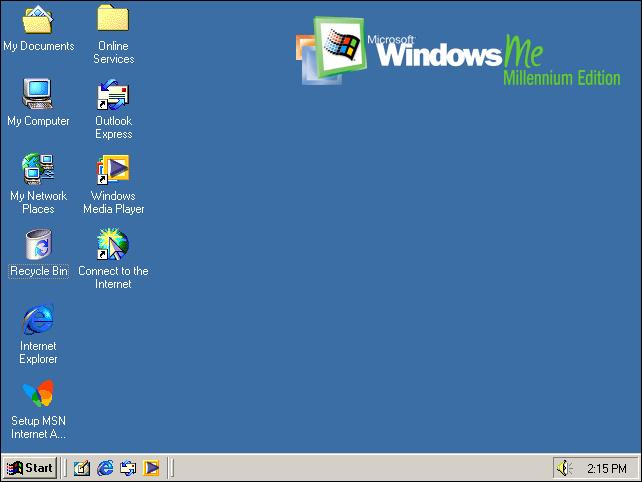 Le bureau par défaut de Windows Millennium Edition.