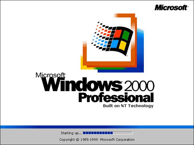 Écran de démarrage de Windows 2000 Professionnel