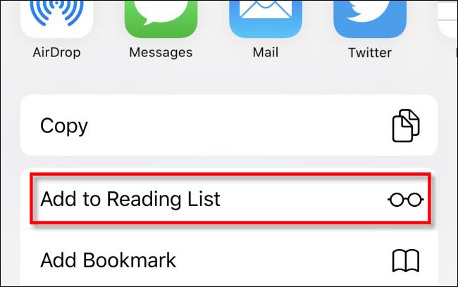 Appuyez sur Ajouter à la liste de lecture dans Safari sur iPhone