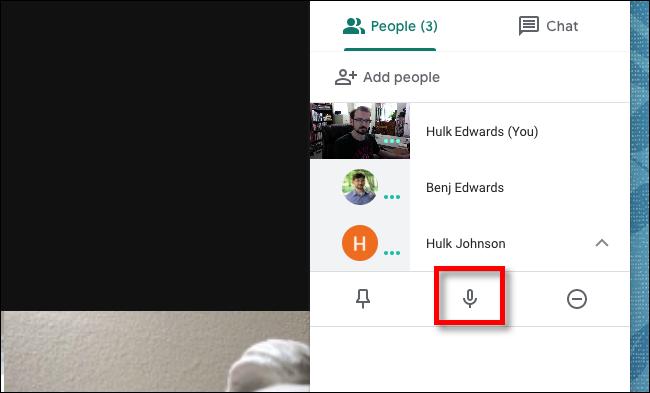 Cliquez sur le bouton Muet de Google Meet