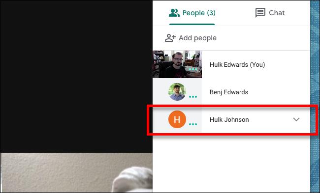 Clic de Google Meet sur la personne que vous souhaitez désactiver