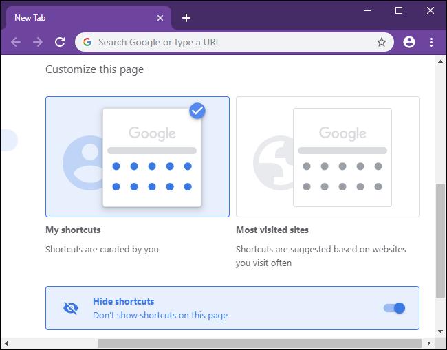 Sélection d'une préférence pour les raccourcis de la page Nouvel onglet dans Chrome.