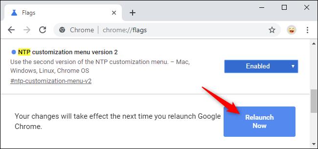 Relancer Chrome après avoir activé le nouveau menu de personnalisation NTP.