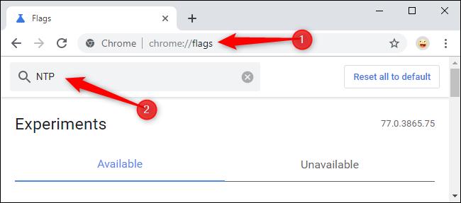 Recherche d'indicateurs NTP sur la page des indicateurs de Chrome.