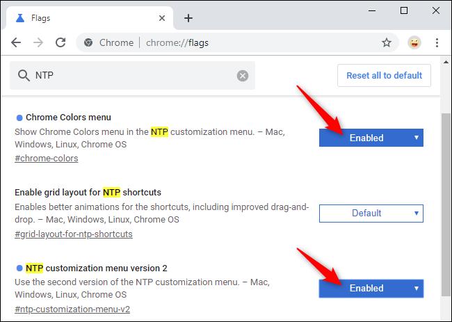 Activation des nouveaux indicateurs de personnalisation de la page Nouvel onglet de Chrome.