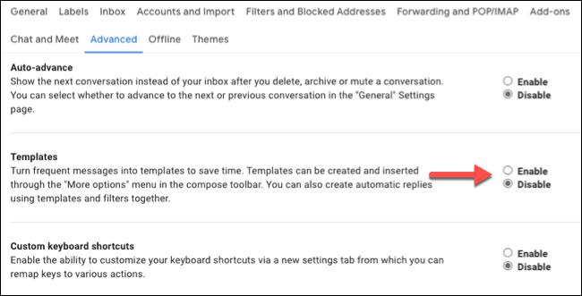 """Cliquez sur le bouton radio à côté de """"Activer"""" dans le """"Modèles"""" section."""