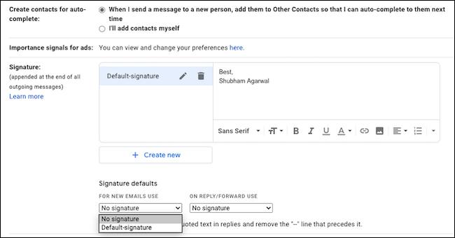 Saisissez votre signature électronique dans Gmail.