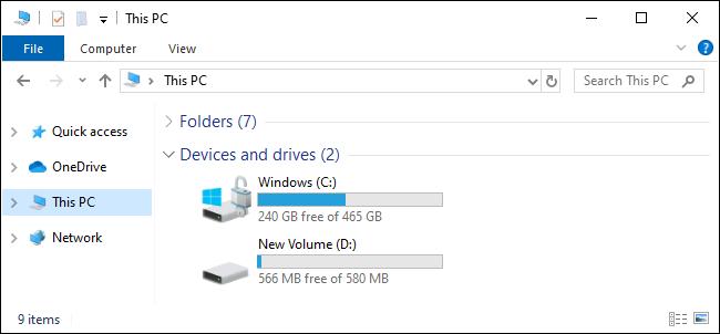 Cette vue PC montrant les lecteurs C: et D: sous Windows 10