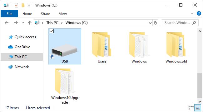 Clé USB montée en tant que dossier sous Windows 10.