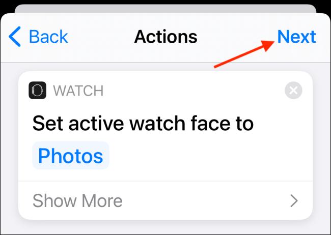 Appuyez sur le bouton Terminé après avoir défini les actions