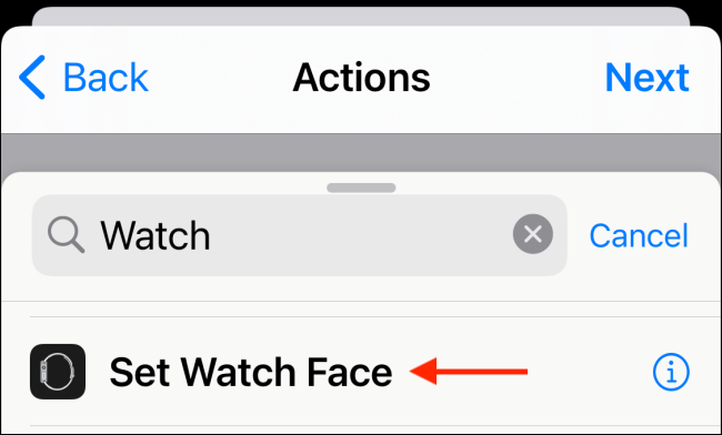 Choisissez Définir l'action du cadran de la montre