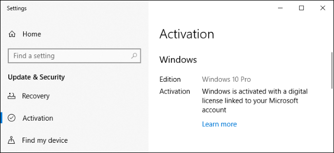L'écran Paramètres de Windows 10 indiquant qu'il est activé avec une licence numérique.