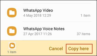 Copie de la confirmation dans l'application Samsung My Files