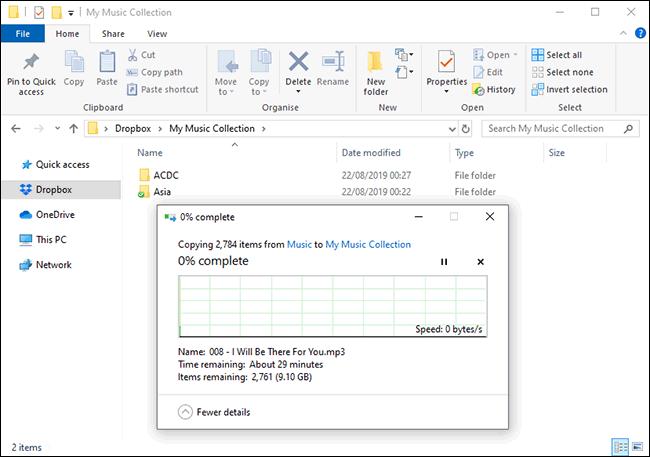 Téléchargement de fichiers vers Dropbox dans le Gestionnaire de fichiers Windows