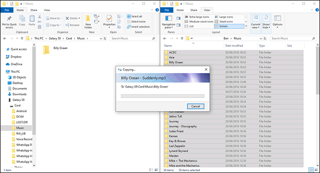 Transfert de fichiers de Windows vers un appareil Android dans l'Explorateur de fichiers
