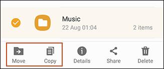 Option pour copier ou déplacer des fichiers depuis USB à l'aide de Samsung My Files