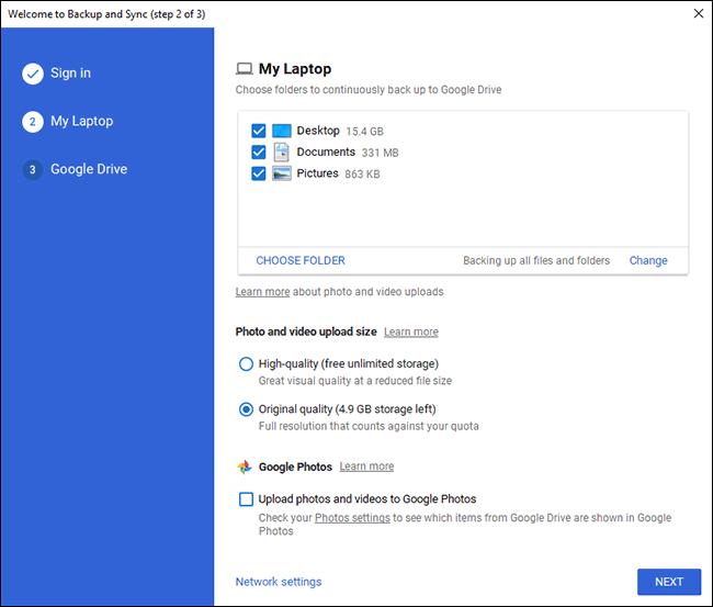 Écran de sélection du dossier Google Drive Backup PC