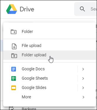 Options de téléchargement de fichiers ou de dossiers Web Google Drive