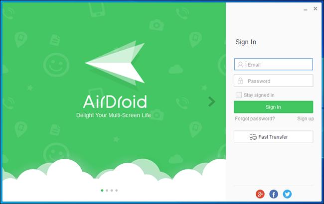 Écran de connexion Airdroid pour PC