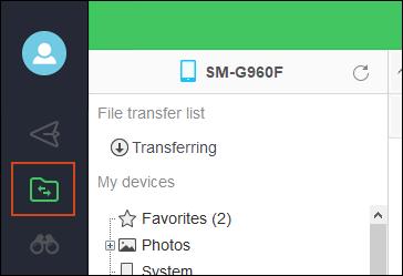 Option de fichiers PC Airdroid