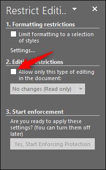 cochez la case sous les restrictions d'édition