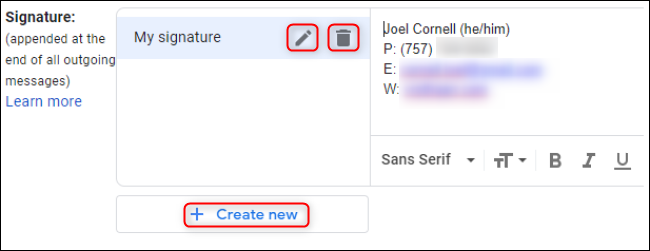 Interface de signatures multiples Gmail
