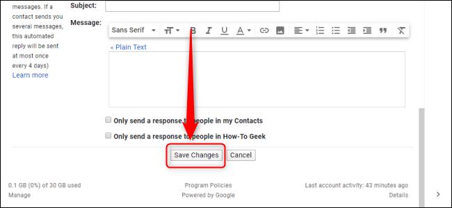 Paramètres Gmail Enregistrer les modifications