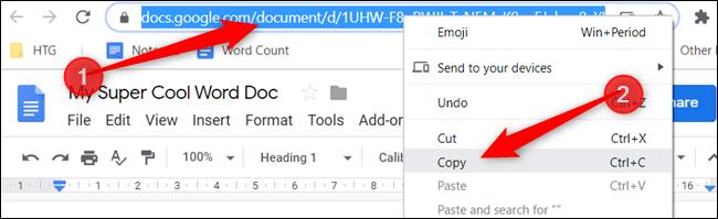 """Cliquez avec le bouton droit sur l'URL dans la barre d'adresse et cliquez sur """"Copie."""""""