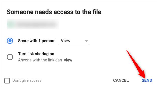 """Dans l'invite qui s'affiche, vérifiez les autorisations et cliquez sur """"Envoyer."""""""