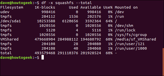Sortie de la commande df avec df -x squashfs --total options