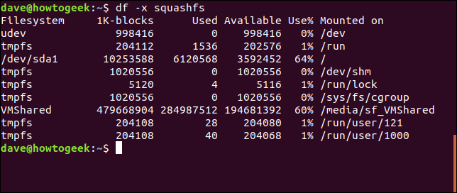 Sortie de la commande df avec les options df -x squashfs