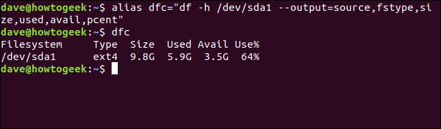 """Création d'un alias avec l'alias de commande dfc =""""df -h / dev / sda1 --output = source, fstype, taille, utilisé, disponibilité, pcent"""""""