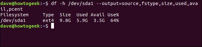 Sortie de la commande df avec les options df -h / dev / sda1 --output = source, fstype, size, used, available, pcent