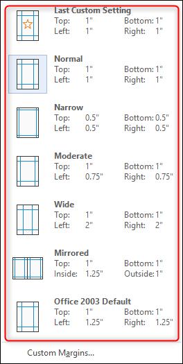 marges de page prédéfinies