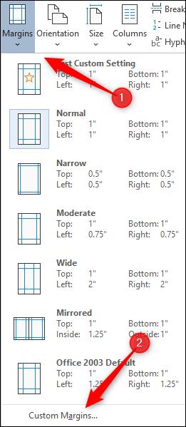 Sélectionnez l'option de marges personnalisées