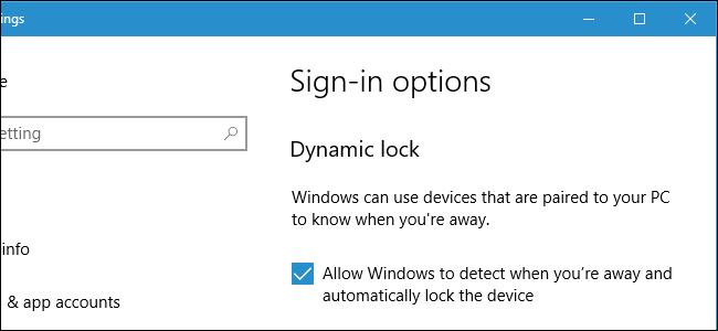 Écran de connexion à verrouillage dynamique de Windows 10.